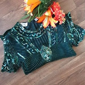 Gorgeous Beaded Emeral Green Blouse